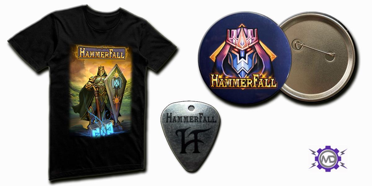 HAMMERFALL 'HammerFall' game bundle incl. black T-shirt + guitar pick + pin-badge
