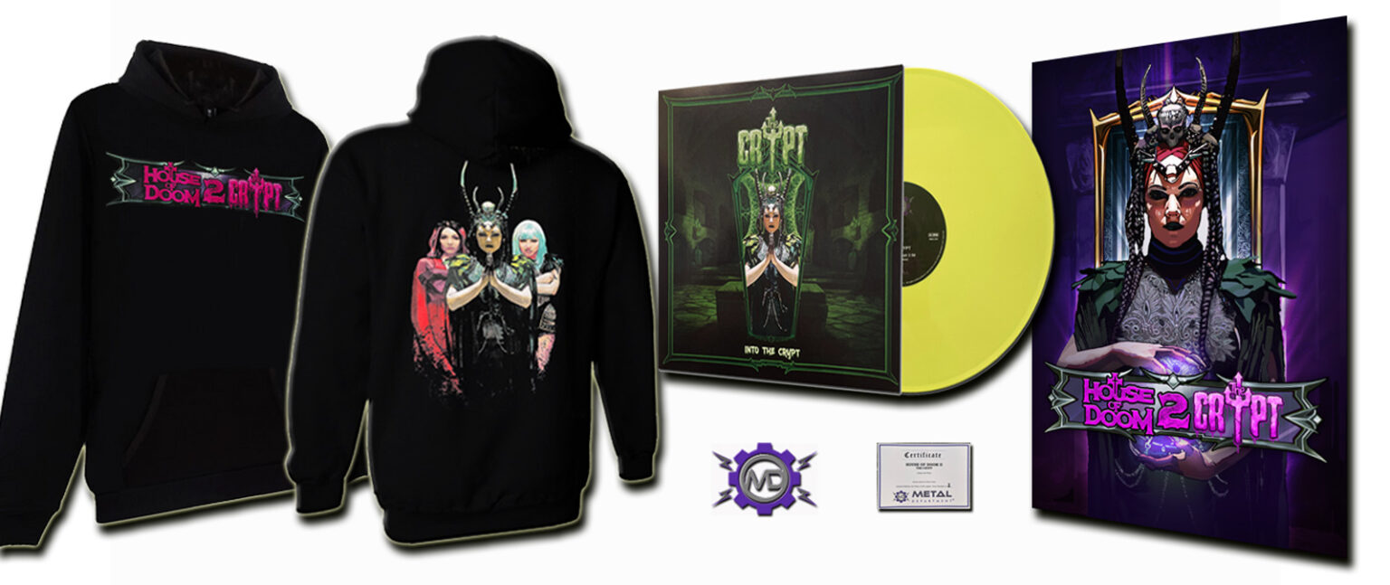"HOUSE OF DOOM 2: THE CRYPT game bundle incl. hooded sweatshirt + art print poster + 12"" yellow vinyl single"