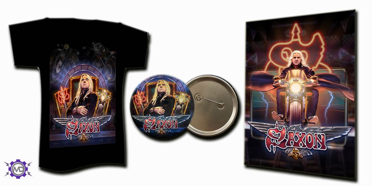 SAXON 'Motorcycle Man' game bundle incl. black T-shirt + colour poster + pin-badge