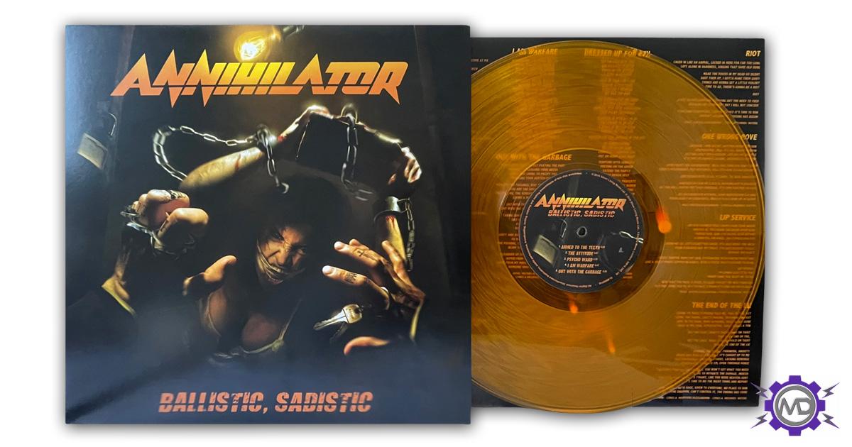 ANNIHILATOR 'Ballistic, Sadistic' amber vinyl LP, autographed